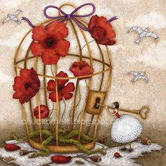 """Cage"" , made by: Chuckometti aka Monika Schöffmann - (Keyhole and key) Art Floral, French Nursery, Art Carte, Anna, Bird Cages, Pastel, Naive Art, Beautiful Artwork, Flower Art"