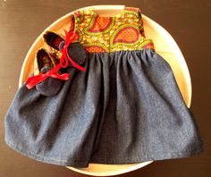 African Wax Print and Denim Infant Dress & Booties by Bonniebabyboutique on Etsy
