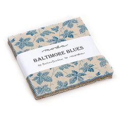 BALTIMORE BLUES CHARM Squares - Moda Fabric Precuts, Designed by Barbara Brackman, Sassafras Brown, Harbor Blue, Talbot Tan,…