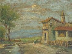 E, Besozzi pitt. s.d. (1935)  Bosco olio su cartone f.b.d. cm. 19 x 26 arc. 964