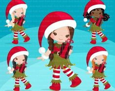 Christmas Clipart - Buy Now Christmas Elf Clipart. Christmas Clipart, Christmas Paper, Christmas Crafts, Christmas Patterns, Christmas Ideas, Christmas Ornaments, Planner Stickers, Elf Clipart, Girl Clipart