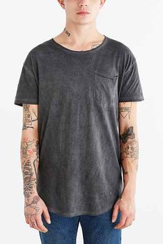 Feathers Oil Wash Scoop Neck Long Tee - Urban Outfitters