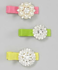 Loving this Yellow, Pink & Green Rhinestone Clip Set on #zulily! #zulilyfinds