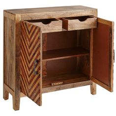Kadhi Chevron Mango Wood Cabinet