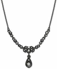 Downton Abbey Necklace, Jet-Tone Belle Epoque Crystal Teardrop Pendant Necklace at Macy's