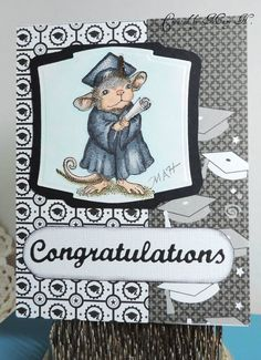 House Mouse colored with copics/ mats Spellbinders, Elizabeth Craft die sentiment
