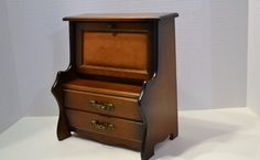 Vintage Wood Jewelry Box Drop Front Desk Made in by PanchosPorch, $49.00