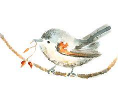 Bird print baby nursery art winter decor by LightheartedDreamer