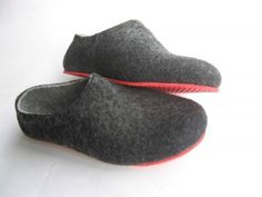 Red Sole Felted Wool Shoes Black Gray. Women