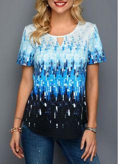 Rosewe Women T Shirt Blue Short Sleeve Printed Tunic Short Sleeve Printed Keyhole Neck T shirt Printed Tank Tops, Printed Shirts, Shirt Sale, T Shirt, Trendy Tops, Casual Tops, Xl Fashion, Stripe Print, Sleeves