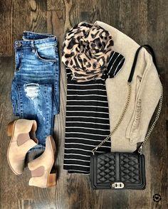 IG @mrscasual | stripe top, leopard scarf, beige cardigan, black crossbody, & beige booties