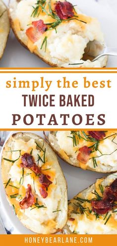 Make the best twice baked potatoes at home! These twice baked potatoes are so yummy and such a treat! Twice baked potatoes easy simple. Potato recipes in oven. #potatorecipes #potatodinners #bakepotatoes Oven Recipes, Potato Recipes, Easy Dinner Recipes, Easy Meals, Best Twice Baked Potatoes, Summer Treats, The Best, Favorite Recipes, Baking