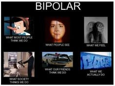 Bipolar: What people think we do, what people see, what we feel, what society thinks we do, what our friends think we do, and what we actually do.