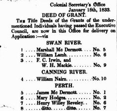 Western Australian Title Deeds of Grants - 28 January 1833 William Lamb, Western Australia, Perth, Family History, Westerns, The Past, January, How To Apply, Free