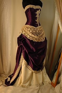 Bound by Obsession: Antique cream and purple Victorian inspired bustled wedding gown