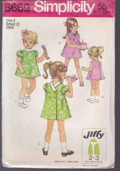 1969 Simplicity Pattern 8669 Girls' Child Sz 2 Jiffy Cute Back Wrap Dress Uncut | eBay