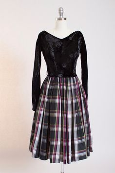 1950s Silk Velvet Plaid Party Dress by Gigi Young