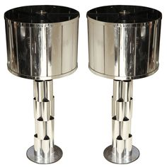 Pair of Curtis Jere Chrome Lamps | From a unique collection of antique and modern table lamps at http://www.1stdibs.com/lighting/table-lamps/