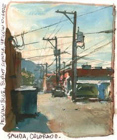 Alley in Salida, CO. Prussian blue, burnt sienna, yellow ochre, and white gouache.