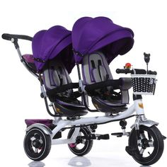 The children tricycle Twin trolley Three-wheeled carts bicycle Twin baby strollers baby car