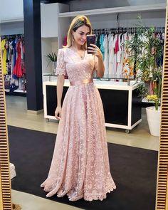 pink v neck short sleeves long prom dres with lace CR 12883 Pink Prom Dresses, A Line Prom Dresses, Evening Dresses, Formal Dresses, Designer Dresses, Fashion Dresses, Gowns, Lace, Princesa Charlotte
