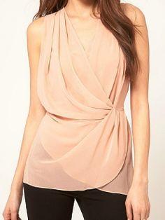 d0384a88d4d64f Pink Plain Deep V-neck Sleeveless Crossed Waist Blouse Petite Dresses