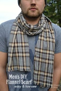 This easy, low-sew men's DIY flannel scarf - and Old Navy knockoff - uses only a straight stitch and comes in at under $1.50 each!