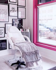 A Unique Way to Hang Pictures - Mix and match different-sized prints and piece them together like a puzzle 💕 - Pretty pink lash studio…