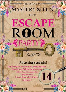 Escape room My daughter just turned 14 and I honestly ran out of birthday ideas. I have been doing this every single year. Birthday Party At Home, 13th Birthday Parties, 14th Birthday, Teen Birthday, Daughter Birthday, Birthday Ideas, Escape Room Diy, Escape Room For Kids, Escape Room Puzzles