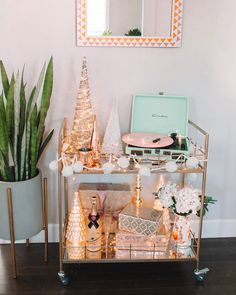 "See our internet site for additional relevant information on ""gold bar cart decor"". It is an exceptional location for more information. Bar Cart Styling, Bar Cart Decor, Holiday Parties, Holiday Fun, Holiday Decor, Favorite Holiday, Christmas Pajama Party, Gold Bar Cart, Tea Cart"
