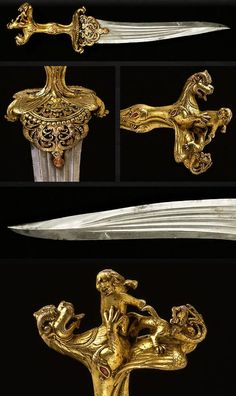 Ceremonial Zoomorphic Dagger      Dated: mid-16th century     Culture: Indian, Vijayanagar or Deccan     Medium: steel, bronze, rubbies (Art of Swords)