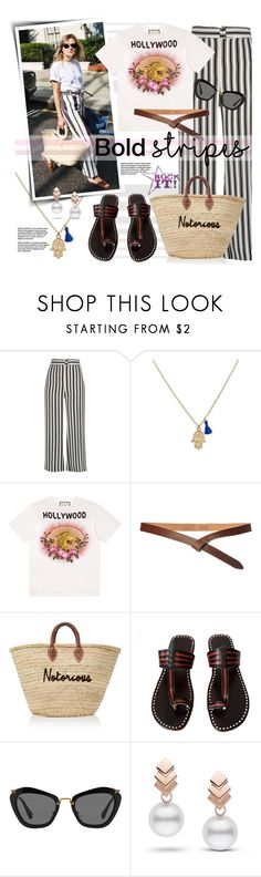 """""""Graphic Striped Pants"""" by watereverysunday ❤ liked on Polyvore featuring River Island, Gucci, Toast, Miu Miu and Escalier"""
