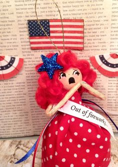 Out of fireworks ooak art doll july 4th ornament party decor red white blue red hair doll 4th of July decor vintage retro inspired toni doll by sugarcookiedolls on Etsy https://www.etsy.com/listing/290450599/out-of-fireworks-ooak-art-doll-july-4th