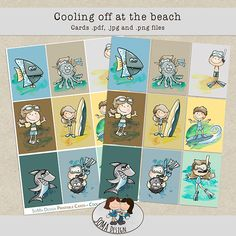 SoMa Design: Cooling Off At The Beach - Cards Beach Cards, Printable Cards, Digital Scrapbooking, Playing Cards, Cool Stuff, Comics, Kit, Design, Cool Things