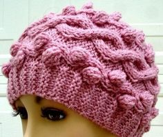 Hand Knitted beanie Hat Cables and Bubbles Pink hat warm winter hat women s  knit hats beanie e53b1c9dfda
