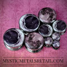 """A couple of our Moon Plugs designs! Starting at just $6.49, they're available in 16g through 2""""! APRIL PROMOTION! Save 20% on all STONE…"""