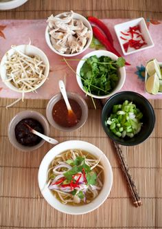 Vietnamese Chicken Pho -- try this one first, nice ideas for serving and the preparation of the soup base is a lot less fiddly... Update: tasted gorgeous!