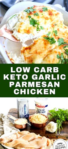 This Low Carb Keto Garlic Parmesan Chicken is just like the original with half of the calories. This recipe is full of creamy goodness. - The ingredients and how to make it please visit the website Fast Dinner Recipes, Fast Recipes, Rice Recipes, Crockpot Recipes, Keto Recipes, Recipes Using Cooked Chicken, Easy Chicken Dinner Recipes, Canned Chicken, Easy Dinners