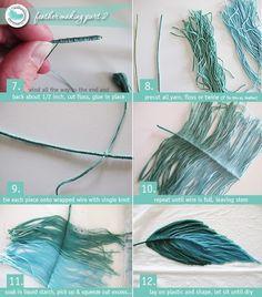 DIY crafts / yarn feathers - MikeLike