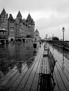 Quebec city in the rain