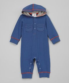 Look at this Navy & Gray Hooded Playsuit - Infant by nktoo by Nohi Kids Sewing For Kids, Great Deals, Baby Boy Outfits, Playsuit, Nike Jacket, Bermuda Shorts, Hoods, Infant, That Look