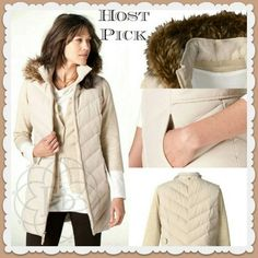 Coldwater Creek Long Quilted Vest HP Beautiful long cream quilted vest with removable faux fur hood. Brand new with tags & never taken out of the package.   All Sales Final   ❌ Trades or Holds   ❌ PP Coldwater Creek Jackets & Coats Vests