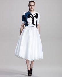 #BergdorfGoodman #JillSander Half-  Sleeve Intarsia Sweater & Organza Full Skirt