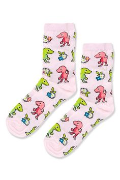 Floral T-Rex Ankle Socks