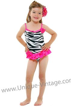 item 19601 Zebra & Hot Pink Ruffle one piece children's swimsuit
