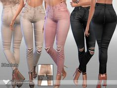 The Sims Resource: Rebel Jeans by Pinkzombiecupcake • Sims 4 Downloads