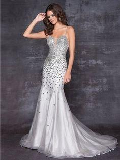 Mermaid/trumpet Tulle Spaghetti Straps Natural Waist Sweep/Brush Train Backless Sleeveless BeadingProm Dress