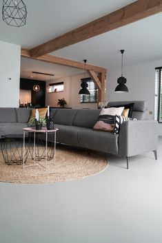 Grey Flooring, House 2, Future House, New Homes, Cottage, Couch, Living Room, Interior, Inspiration