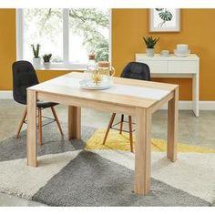 DAMIA Table à manger de 4 à 6 personnes style contemporain décor chêne et blanc mat - L 140 x l 90 cm