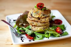 Fried green tomatoes with balsamic salad